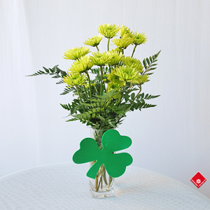 Fresh cut flowers for a St. Patrick's Day gift.