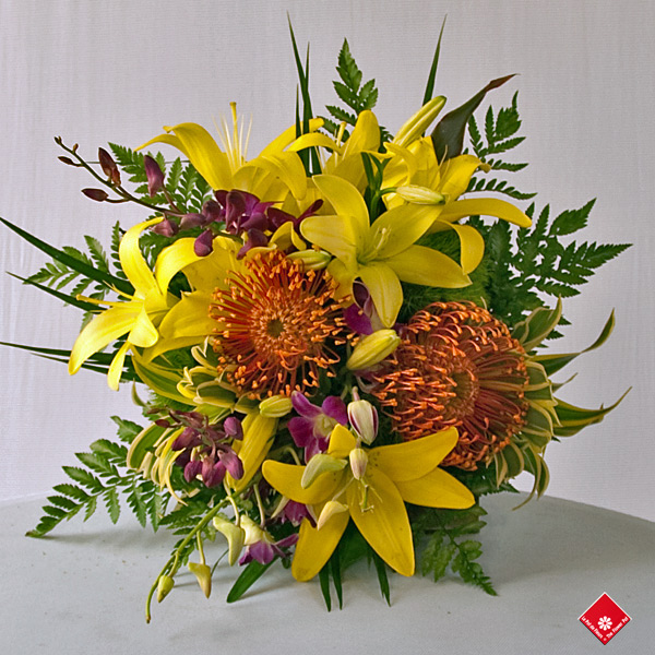 Lily, Protea and Dendrobium in a Tropical Flower Bouquet - The ...