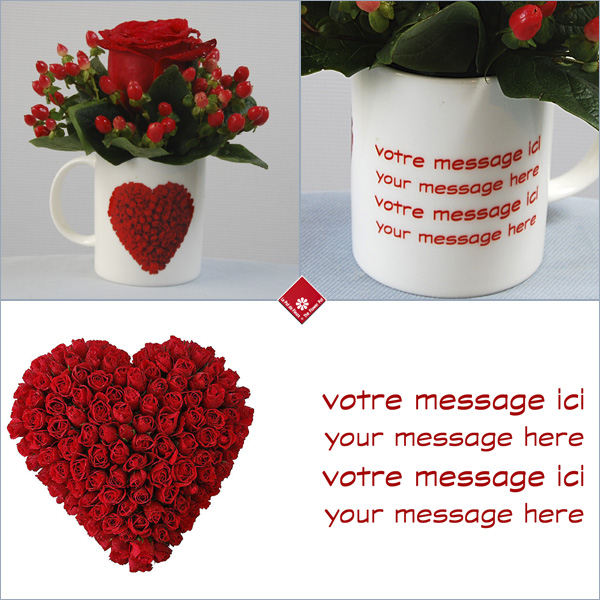 Mug with personalized message and Valentine's Day Rose