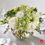 White wedding table centerpiece.