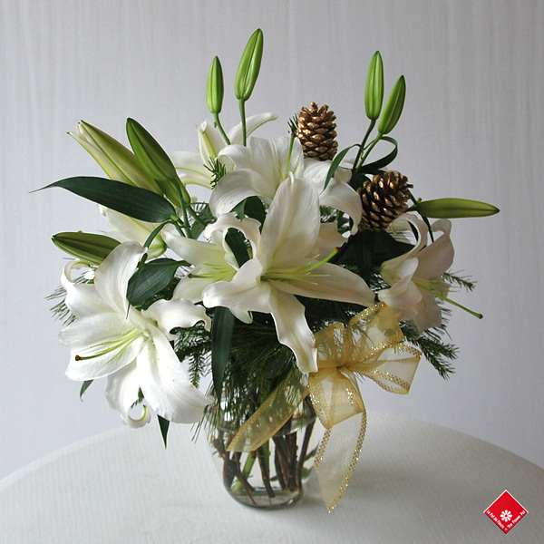 White Christmas lilies in a vase.