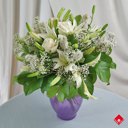 White flowers in a vase.