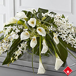 White casket spray of funeral flowers.