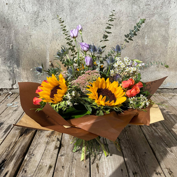 An autumnal hand-tied french bouquet.