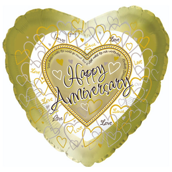 Happy Anniversary Mylar Balloon in gold