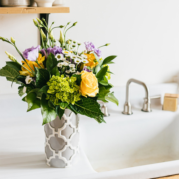 Mixed Flowers in a Modern Vase - The Flower Pot