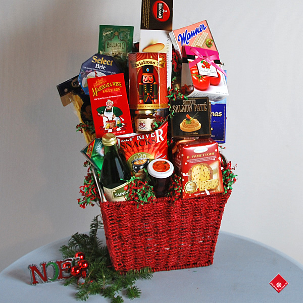 Christmas gourmet basket for Montreal delivery by The Flower Pot.