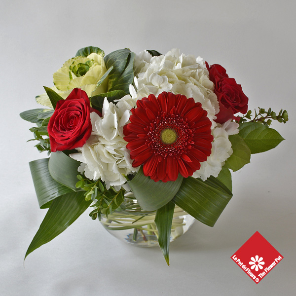 Festive Christmas flowers bouquet.