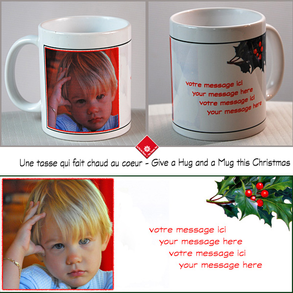 Christmas mug with photo + message in Montréal